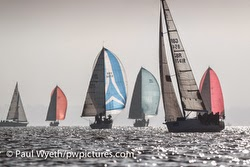 J/109s sailing on Solent off Cowes, England
