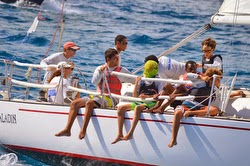 J/36 Paladin sailing with youth high school sailing team off St Croix, US Virgin Islands