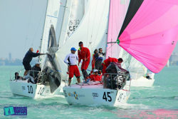 J/24s sailing Europeans in Hungary