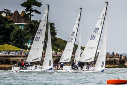 J/70s sailing upwind off Cowes
