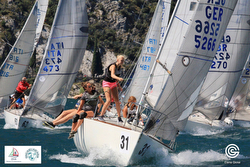 J/24s sailing at Worlds on Lake Garda, Italy