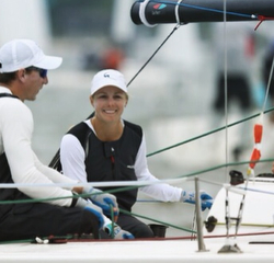 Stephanie Roble sailing J/70 Rimette with John Brim
