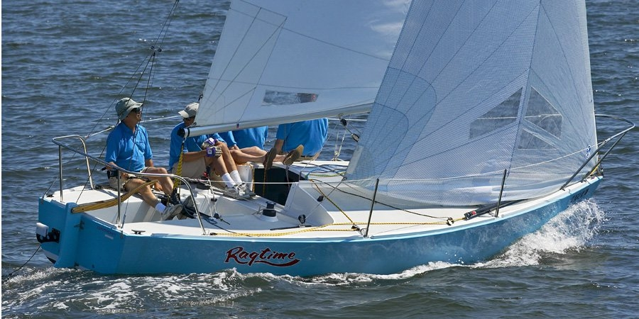 J/Boats designer Rod Johnstone sailing J/24