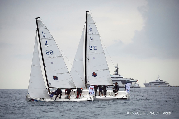 J/70s sailing amongst super yachts off Cannes, France