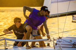J/70s sailing evening race off Moscow