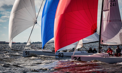 J/70s under spinnaker on Tampa Bay