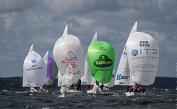 J/24s sailing at Europeans in Sweden