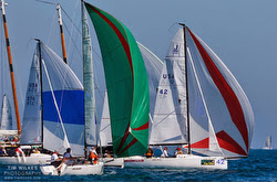 J/70s sailing at finish off Key West