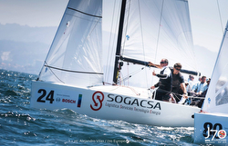 J/70 Sogacsa team sailing off Vigo, Spain