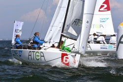 J/70s sailing around mark in Denmark sailing series