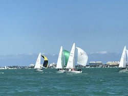 women J/24 sailors downwind