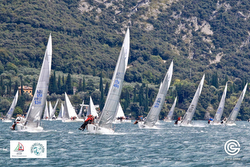 J/24s saiing upwind on Lake Garda, Italy
