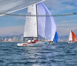 J/70s sailing off Barcelona