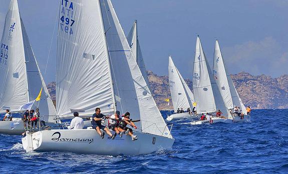 J/24 sailing off Porto Cervo, Sardinia, Italy