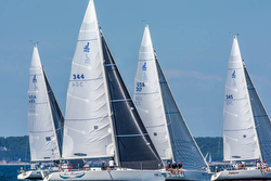 J/105 fleet off Marblehead ONE regatta