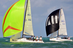 J/70s sailing Mexico Nationals off Cancun, Mexico
