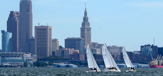 J/70s sailing off Cleveland, OH