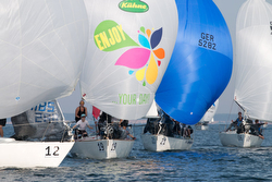J/24s sailing downwind at Worlds in Germany
