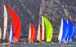 J/70s sailing under spinnaker on Lake Garda- Europeans