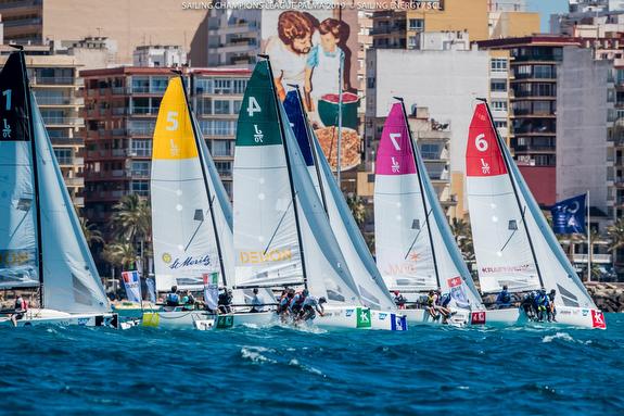 J/70s sailing upwind off Palma, Mallorca