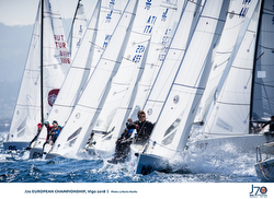 J/70s starting- sailing Europeans off Vigo, Spain