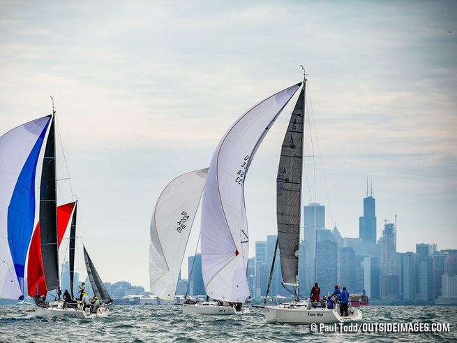 J/109s sailing off Chicago waterfront- Chicago NOOD regatta