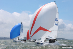 J/70s sailing off Cowes, Isle of Wight, England- J/CUp 2015