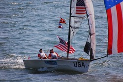 Maureen McKinnon sailing to Gold Medal at 2008 Qingdao Olympics with Nick Scandone