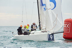 Russian J/70 sailing off Sochi setting spinnaker