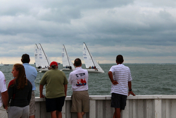 Spectators at Grosse Pointe YC J/70 sailing league event