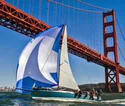 J/125 sailing San Francisco Bay- under Golden Gate Bridge