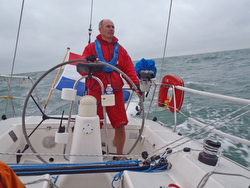 Gaston Moonen sailing his J/145 offshore