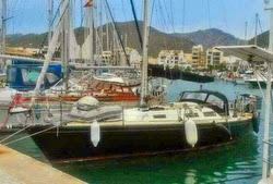 J/36 cruiser sailboat- docked at Palma Mallorca, Spain