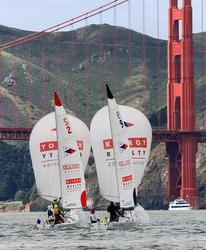 J/22 sailboats match racing on San Francisco Bay