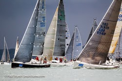 J/109 offshore cruiser racer sailboat- sailing Hamble winter series on Solent, England