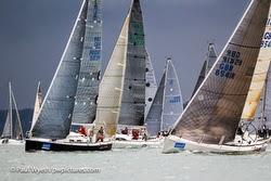 J/109 offshore cruiser racer sailboat- sailing Hamble winter series on Solent, England