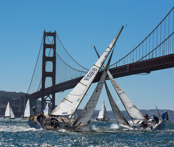 J/105s sailing under Golden Gate Bridge- San Francisco Bay