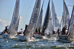 J/24 Worlds- sailboats rounding mark