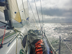 J/111 BLUR sailing fast to Fastnet Race finish at Plymouth, England