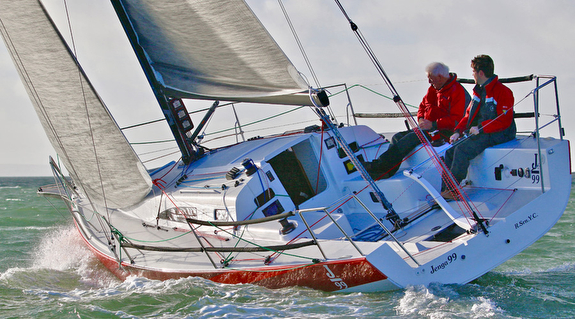J/99 sailing upwind off Hamble, England