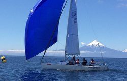 J/80 sailing Llanquihue Lake off Frutillar, Chile
