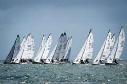 J/70s sailing Bacardi Cup off Miami, FL