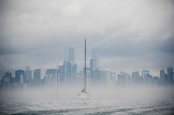 Chicago surrealistic morning before the start on Lake Michigan