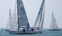 J/70s sailing Bacardi Miami Sailing Week