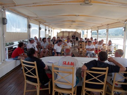 J/24 sailing teams at Cala Galera, Italy