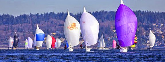 J/105s sailing off Seattle, WA on Puget Sound