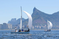 J/24 sailing off Rio de Janeiro- Christ the Redeemer