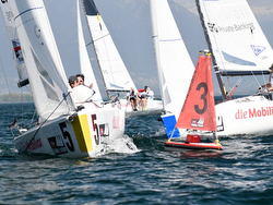 Swiss J/70 Sailing League action in Davos, Switzerland