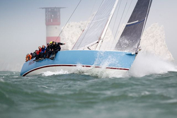 J/133 sailing off Cowes- racing to St Malo, France