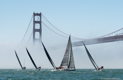 J/111s sailing under Golden Gate Bridge
